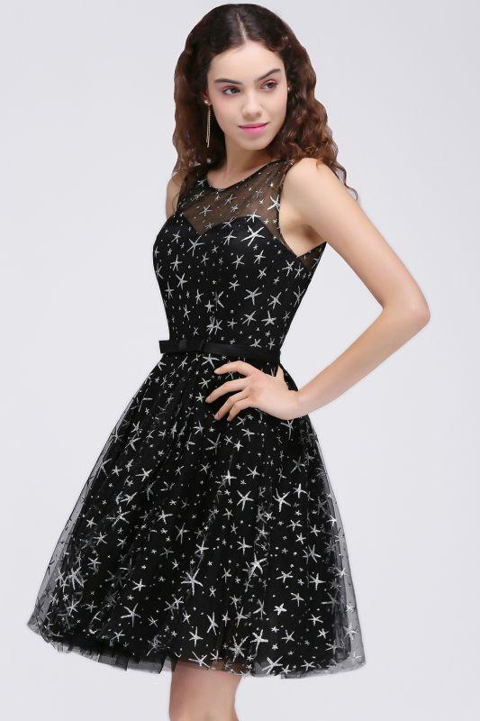 Modest Illusion Short Zipper A-line Sleeveless Belt Homecoming Dress