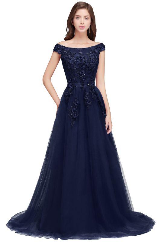 EMBER   A-line Off-shoulder Floor-length Tulle Appliques Prom Dresses