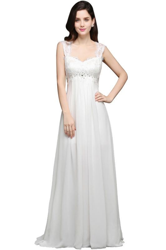 AYLA | A-line Sweetheart Chiffon White Evening Dress With Lace