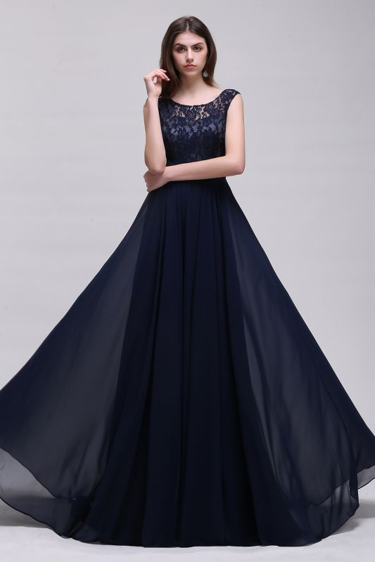 AUDRINA   A-line Scoop Chiffon Prom Dress With Lace