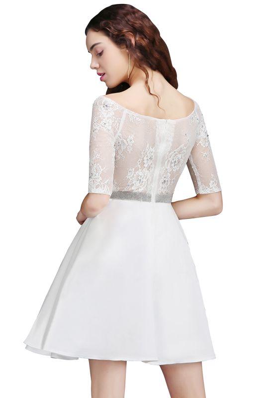 ALICIA   Une ligne bijou blanc manches courtes robes de retour en satin avec dentelle