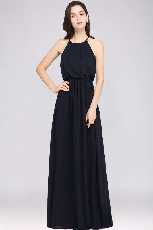 CHEYENNE   A-line Floor-length Chiffon Navy Blue Simple Prom Dress