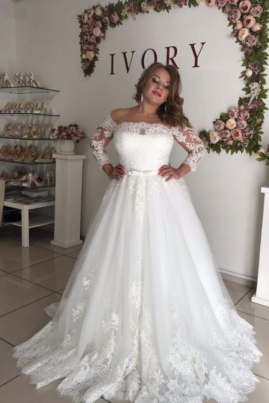 Off The Shoulder Lace Long Sleeve Wedding Dresses | Belt A-line Appliques Bridal Gowns
