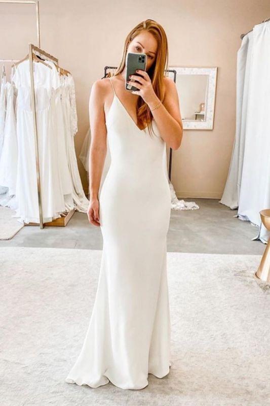 Spaghetti Straps V-neck Sheath Cheap Wedding Dresses | Sexy Backless Floor Length Bridal Gowns