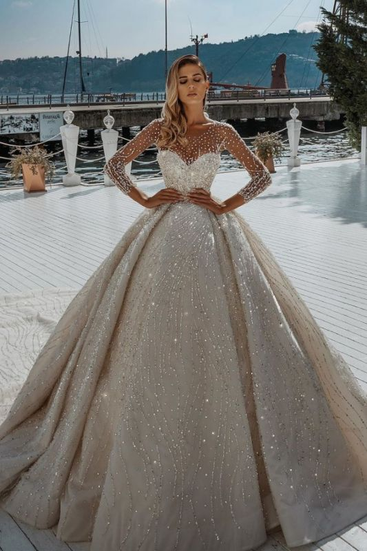 Sparkling Crystal Beading Ball Gown Wedding Dresses | Jewel Sheer Tulle Long Sleeve Bridal Gowns