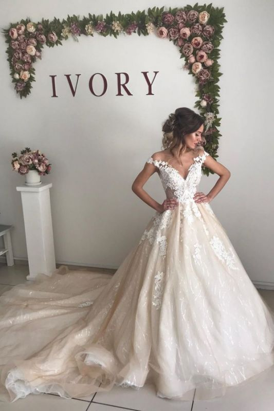 Gorgeous Straps Appliques Ball Gown Wedding Dresses | Sleeveless Open Back Sweep Train Bridal Gowns