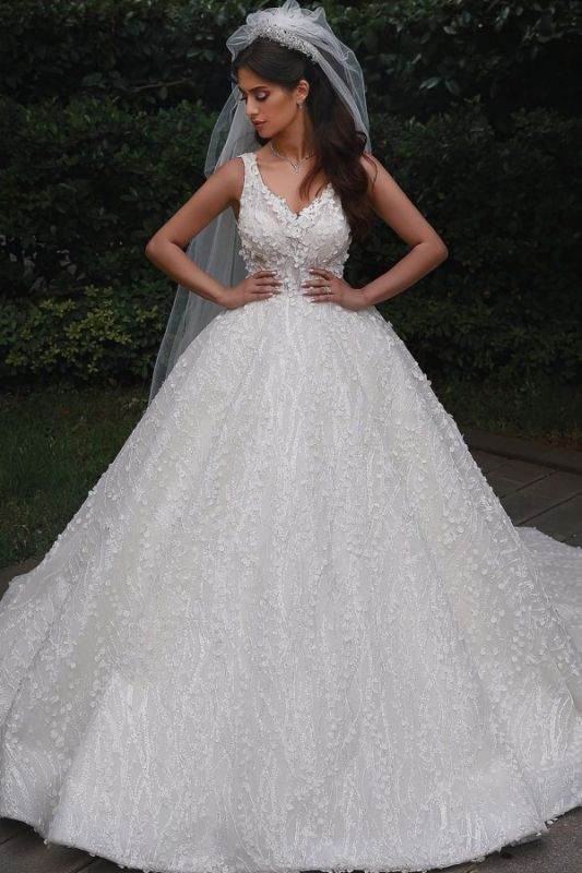 Straps Beads Appliques Ball Gown Wedding Dresses | Floral Backless V-neck Bridal Gowns
