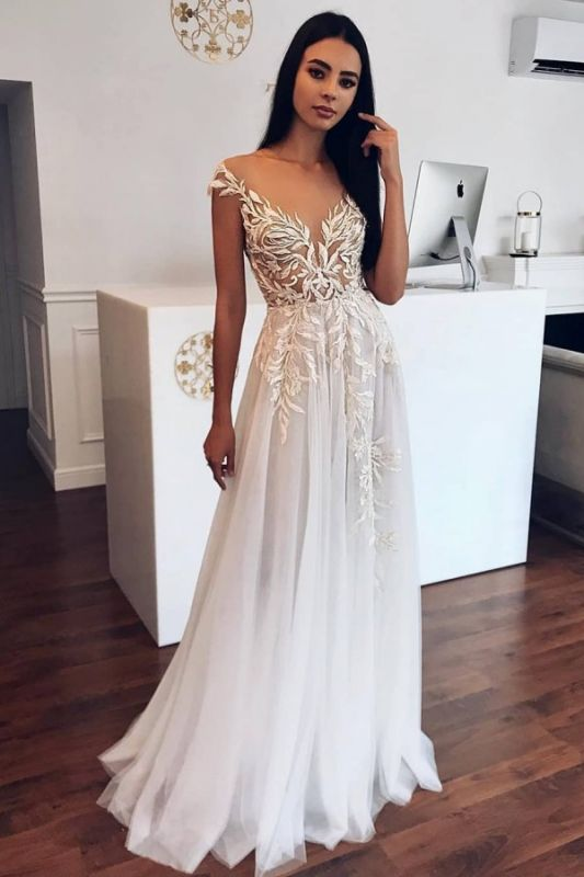 Appliques Sheer Tulle A-line Wedding Dresses | Sleeveless Cheap Floor Length Bridal Gowns