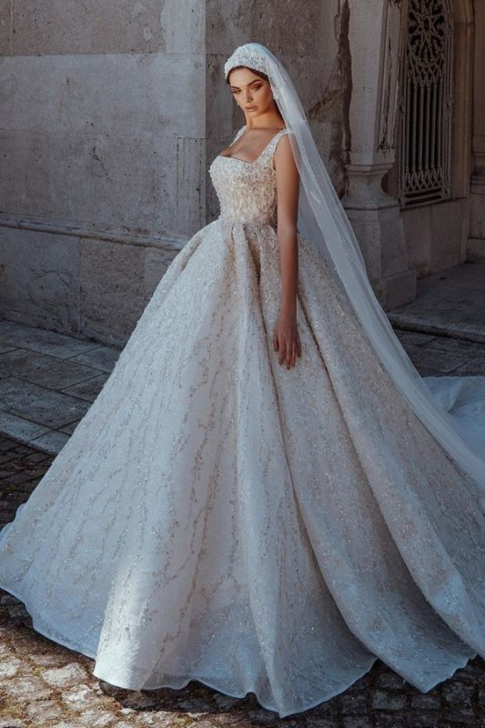 Luxury Straps Shiny Crystal Ball Gown Wedding Dresses | Beading Square collar Bridal Gowns Online