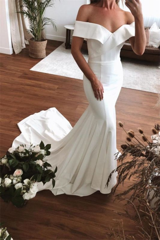 Schulterfrei Rüschen Meerjungfrau Brautkleider | Bodenlange Brautkleider mit kurzen Ärmeln