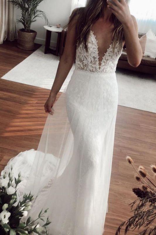 V-neck Spaghetti Straps Lace Appliques Wedding Dresses | Mermaid Floor Length Bridal Gowns