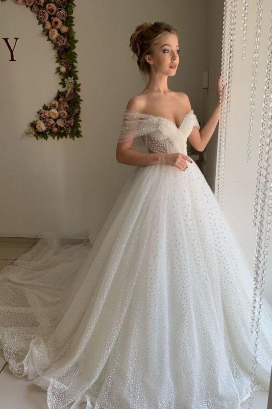 Schatz Perle Schulterfrei Ballkleid Brautkleider | Rückenfreie Tüll Günstige Brautkleider