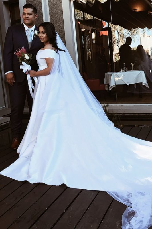Elegant Off The Shoulder Satin Wedding Dresses | A-line Cheap Bridal Gowns With Sweep Train
