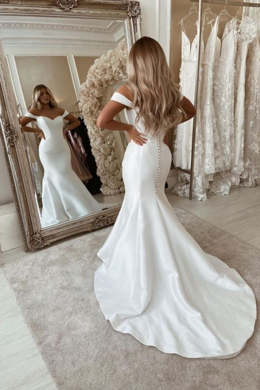 Off The Shoulder Mermaid Wedding Dresses | Sleeveless Sexy Bridal Gowns Online