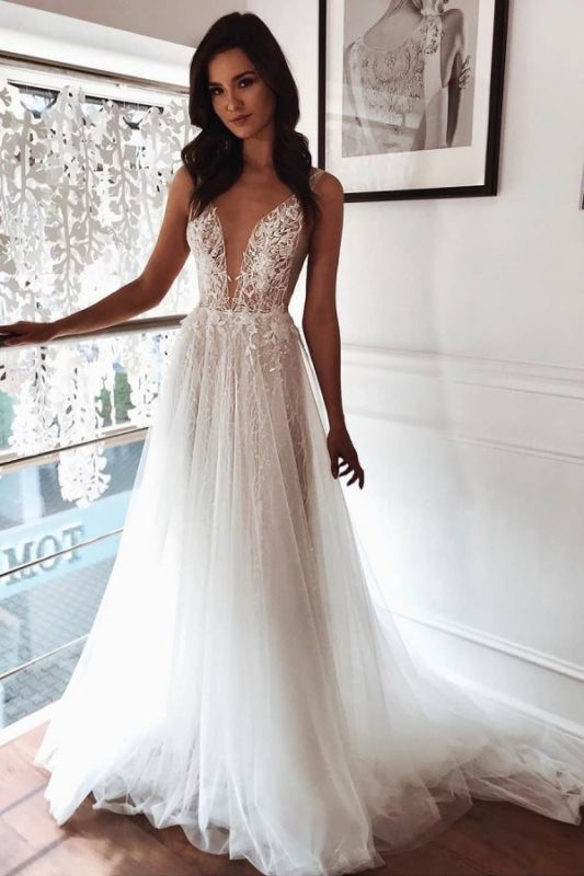 Straps Appliques Sleeveless Beach Wedding Dresses | Sexy V-neck Summer A-line Bridal Gowns