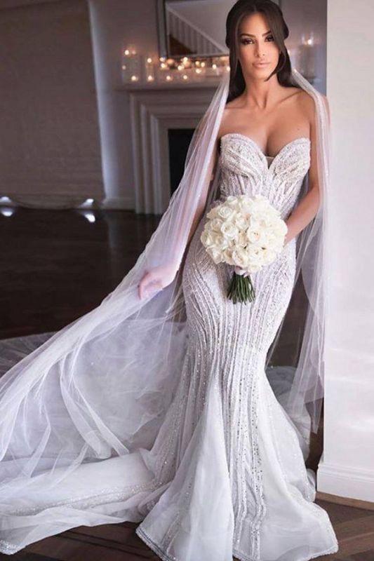 Strapless Shiny Beading Sweetheart Wedding Dresses | Mermaid Floor Length Sleeveless Bridal Gowns