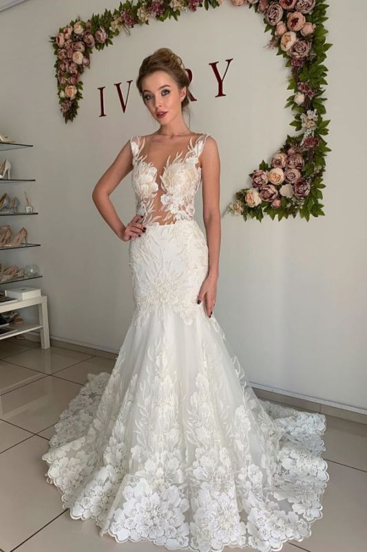Straps Appliques Mermaid Wedding Dresses | Pleated Sheer tulle Cheap Bridal Gowns
