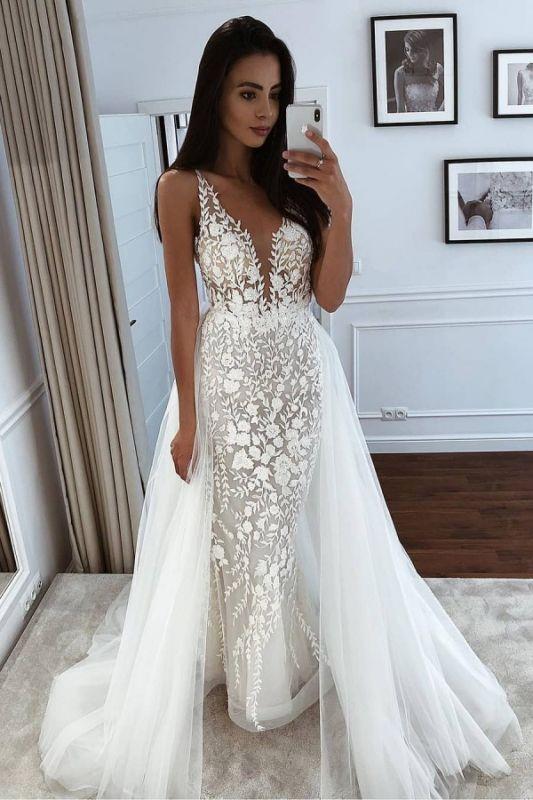 Spaghetti Straps Appliques Wedding Dresses With Detachable Train | V-neck Mermaid Cheap Bridal Gowns