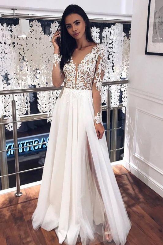 Langarm Perlen Applikationen A-Linie Brautkleider | Bodenlange Brautkleider aus Tüll mit V-Ausschnitt