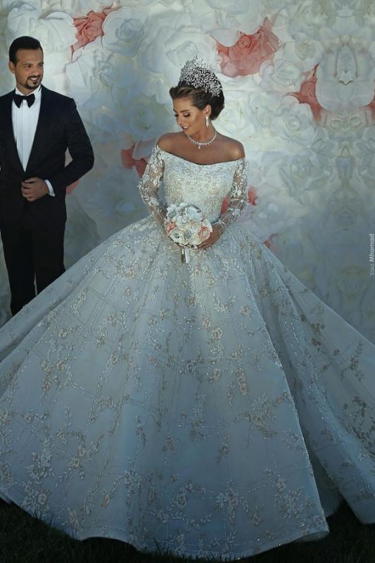Off The Shoulder Shiny Appliques Ball Gown Wedding Dresses | Lace Long Sleeves Bridal Gowns