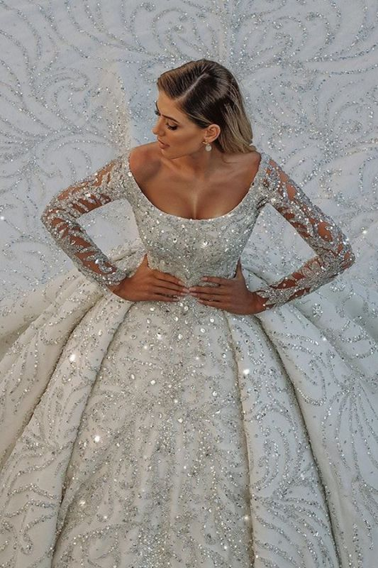 Gorgeous Shiny Sequins Crystal Ball Gown Wedding Dresses | Beads Long Sleeve Off The Shoulder Bridal Gowns