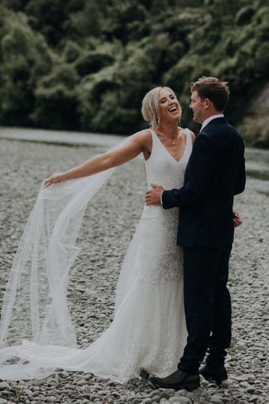 Straps V-neck Appliques Sheath Wedding Dresses | Open Back Sleeveless Cheap Bridal Gowns