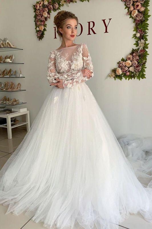 Sheer Tüll Elegante Applikationen Brautkleider | Brautkleider in A-Linie mit langen Ärmeln online
