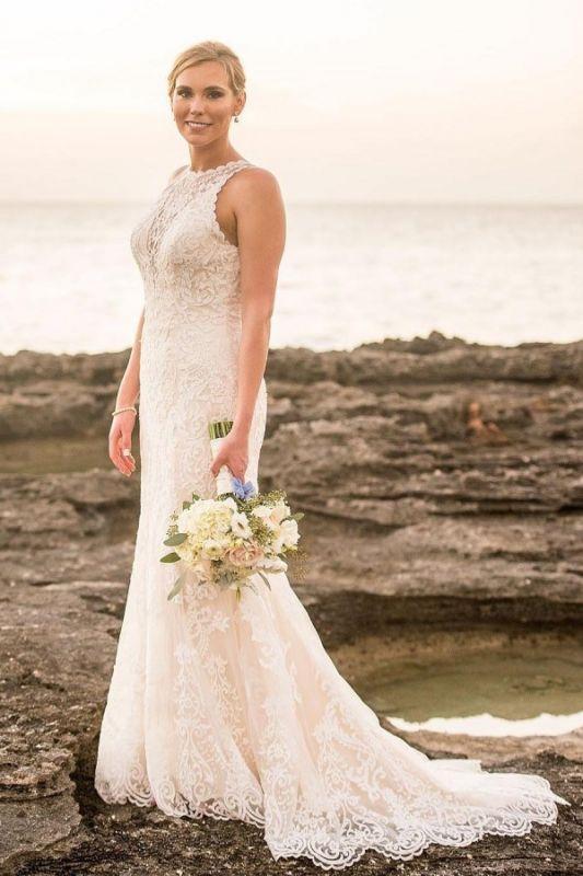 Elegant Lace Straps Sheath Cheap Wedding Dresses | Sleeveless Appliques Floor Length Bridal Gowns