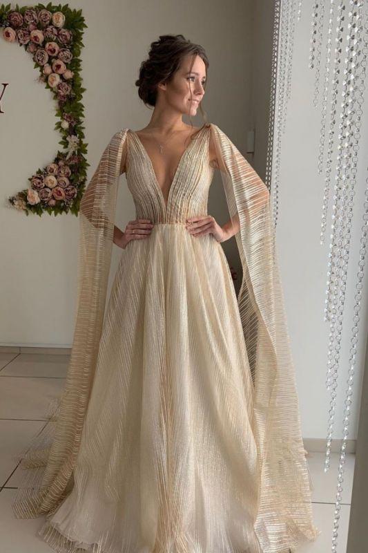 Champagner Träger V-Ausschnitt Brautkleider | Sexy rückenfreie Brautkleider in A-Linie mit Schal