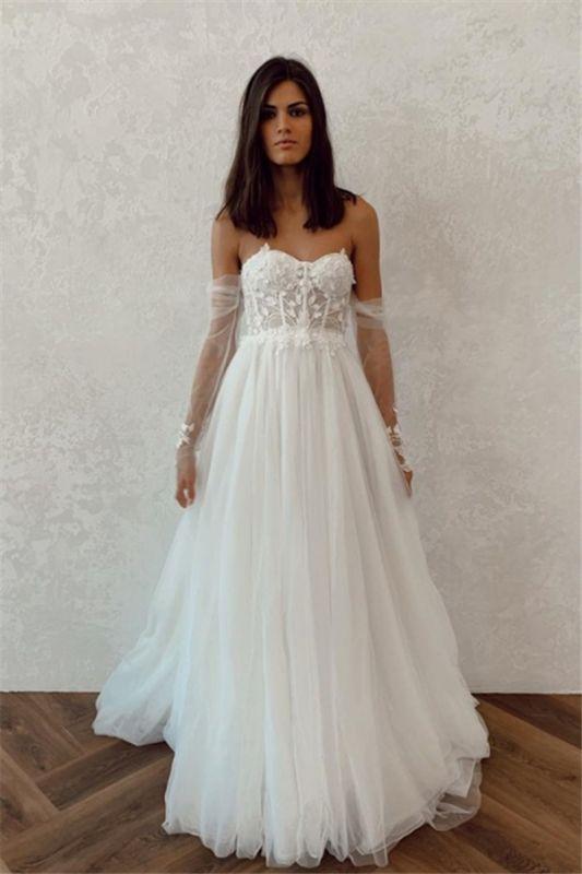 Straplesss A-line Appliques Vestidos de novia baratos | Vestidos de novia sin espalda hasta el suelo con mangas de tul