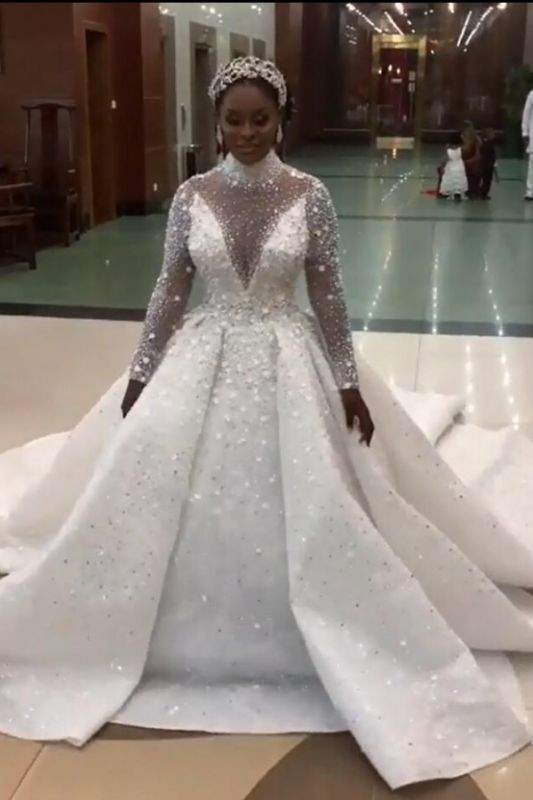 Luxury Beads High Neck Ball Gown Wedding Dresses | Sparkling Long Sleeves Bridal Gowns