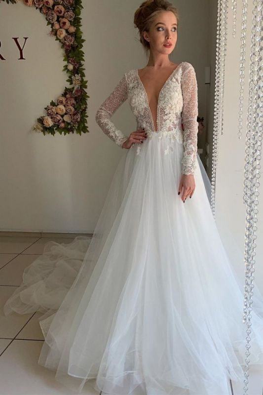 A-line Chiffon Sexy V-neck Wedding Dresses | Long Sleeve Flower Cheap Bridal Gowns
