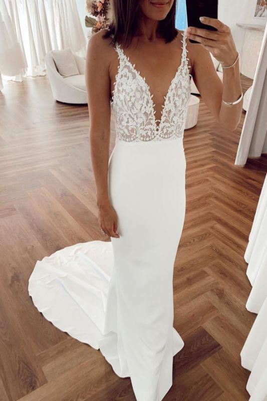 Spaghetti Straps Appliques V-neck Wedding Dresses | Sexy Sheath Backless Cheap Bridal Gowns