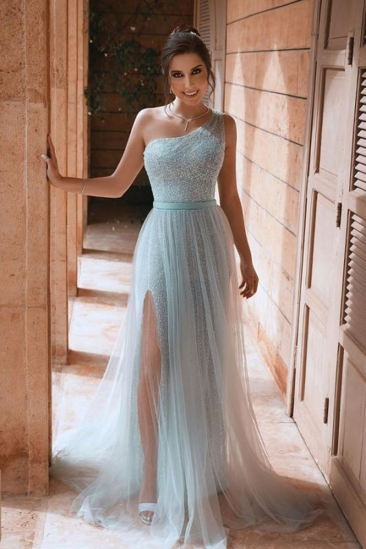 One Shoulder Shiny Sequins Belt Prom Dresses | Side Split Tulle Floor Length Evening Gowns