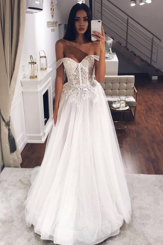 Beads Off The Shoulder Strapless Wedding Dresses | A-line Floor Length Cheap Bridal Gowns