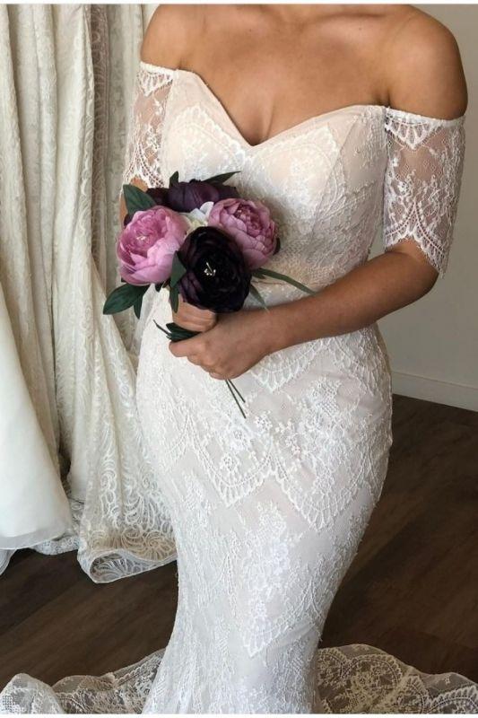 Trägerlos Schulterfrei Günstige Meerjungfrau Brautkleider | Spitze Kurzarm Brautkleider Online