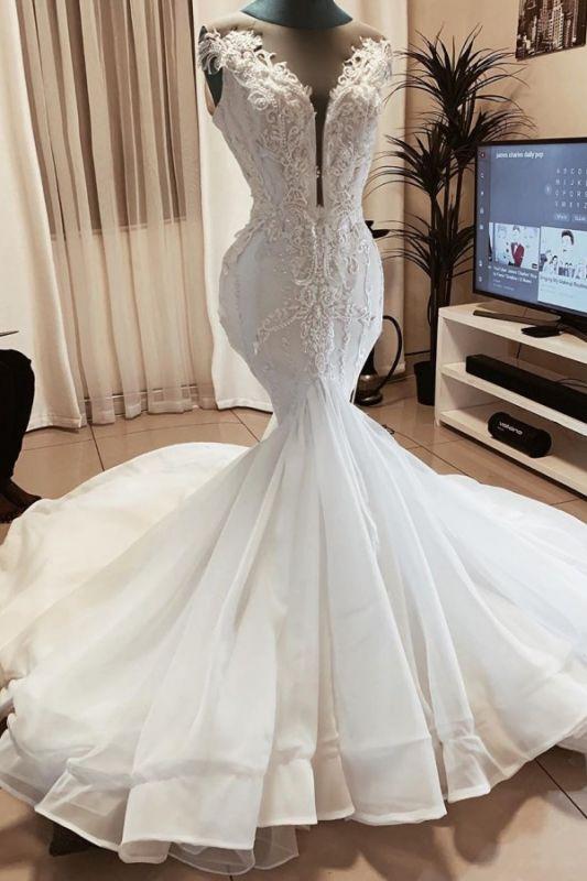 Meerjungfrau Perlen Applikationen Ärmellose Brautkleider | Brautkleider mit V-Ausschnitt aus transparentem Tüll