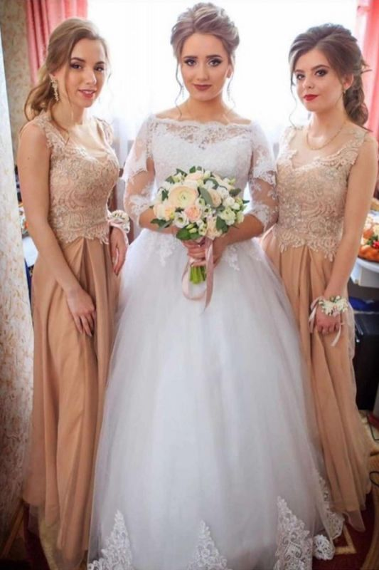 Elegant Lace Appliques Ball Gown Wedding Dresses | Long Sleeves Floor Length Cheap Bridal Gowns