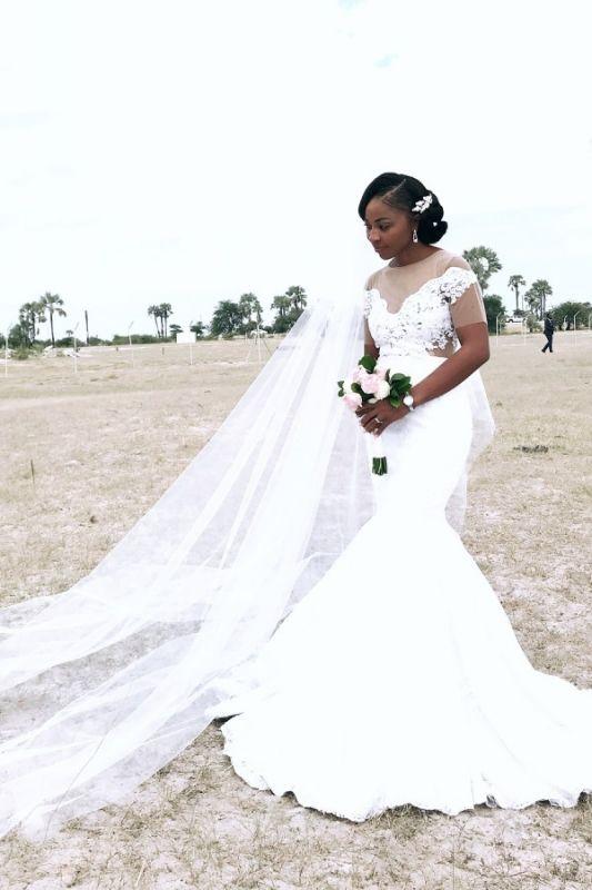 Meerjungfrau-Applikationen Sheer Tüll Brautkleider | Kurze Ärmel Günstige Brautkleider