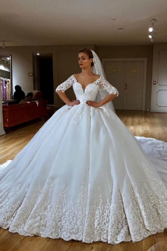 Glamorous Lace V-neck Ball Gown Wedding Dresses | Appliques Sleeves Bridal Gowns with Sweep Train