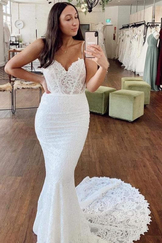 Bretelles Spaghetti Dentelle Appliques Robes De Mariée   Robes de mariée pas cher sans manches sirène