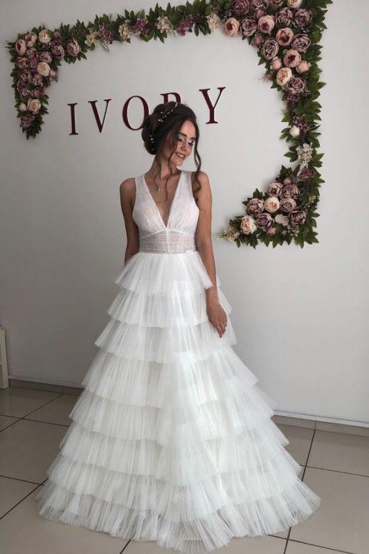 Straps V-neck Cheap A-line Wedding Dresses | Tulle Ruffles Floor Length Bridal Gowns Online
