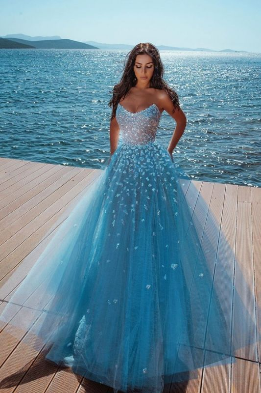 Strapless Shiny Crystal Cheap Prom Dresses | Tulle Sleeveless Floor Length Evening Gowns