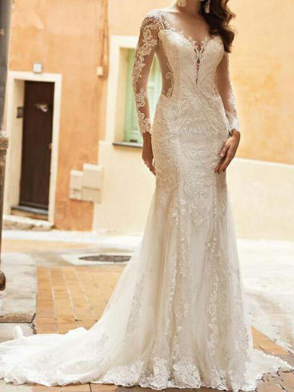 Elegant Long Sleeves Tulle Lace Mermaid Bridal Dress with Sweep/Trumpt Train