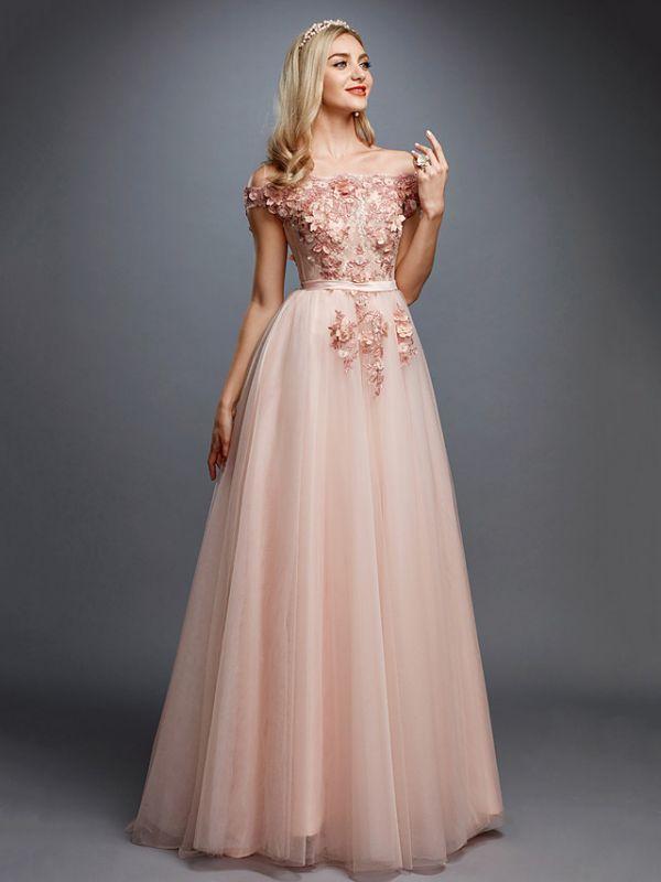 Off Shoulder 3D Floral  Tulle Aline Evening Dress Off Shoulder Party Dress