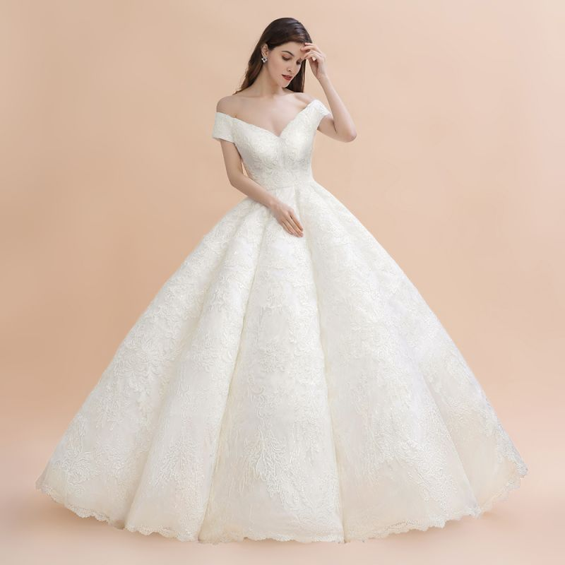 Ivory Off Shoulder Lace Appliques A-line Ball Gown Tulle Wedding Dress