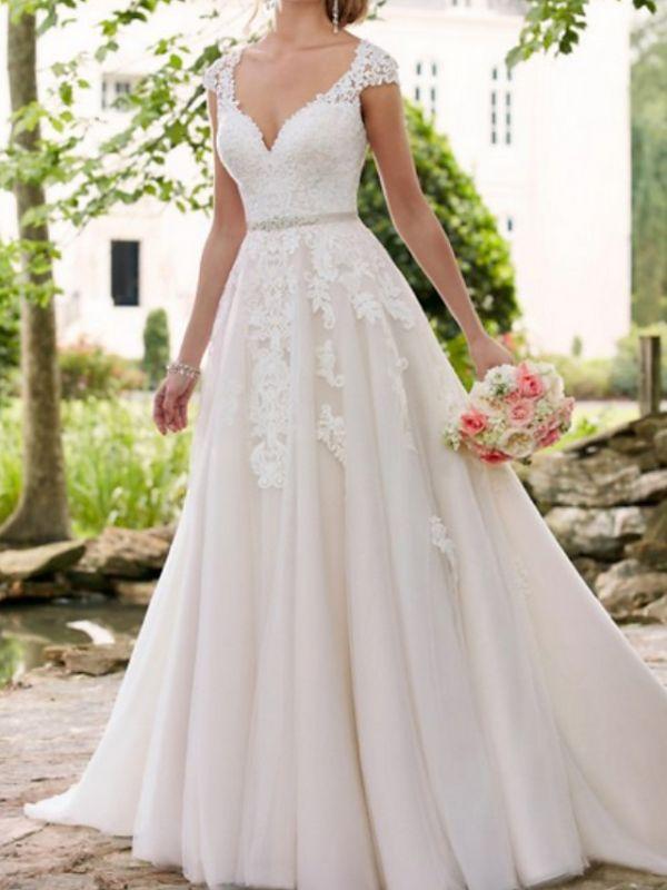 Vestidos de novia con mangas casquillo Aline con cinturón Vestido de novia de jardín