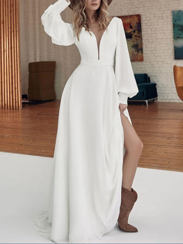 Atemberaubendes tiefes V-Ausschnitt lange Ärmel Seitenschlitz Brautkleid