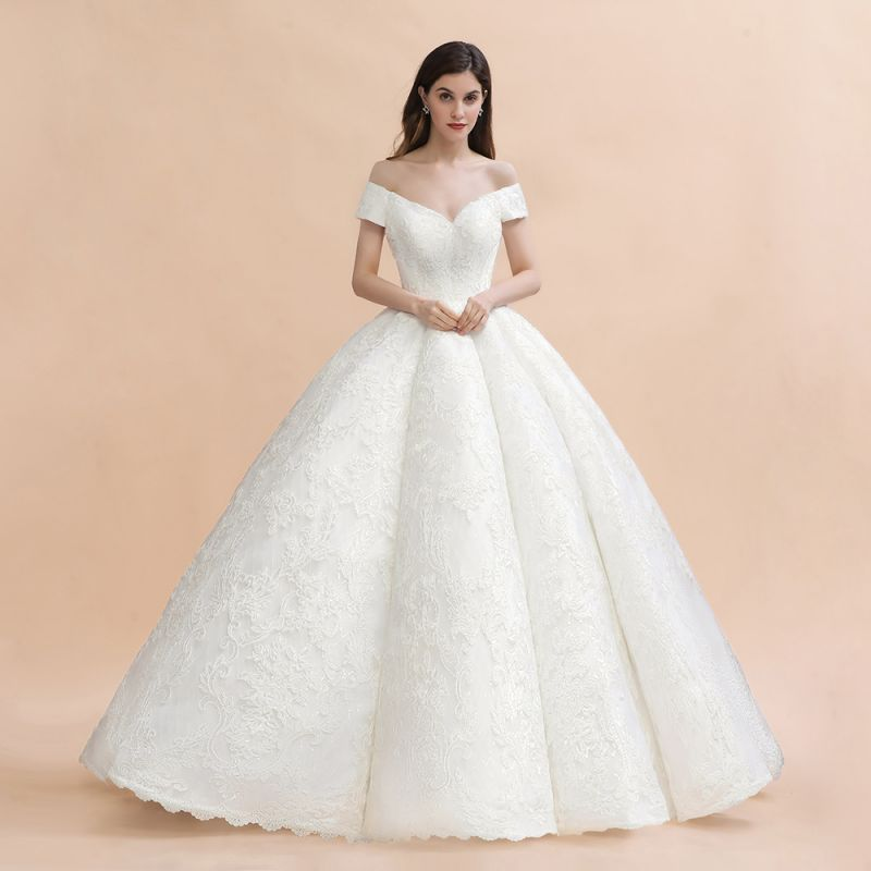 Charming Off-the-Shoulder Appliques Ball Gown Backless Sweep Train