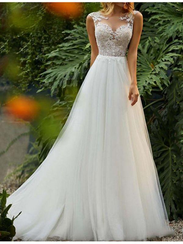 Sleeveless Wedding Dress Floral Lace Aline Tulle Bridal Dress